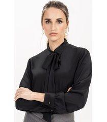 camisa feminina preta com gola laço giuliana