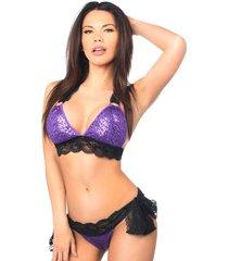 purple sequin pucker back bikini with black lace