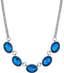 2028 black-tone oval collar necklace