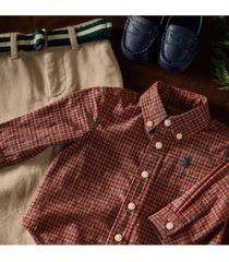 ralph lauren baby boys shirt, belt & chino pant set