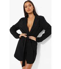 geweven oversized blazer jurk met ceintuur, black