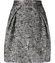 alberta ferretti metallic floral-print skirt - silver