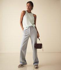 reiss maude - semi sheer vest top in aqua, womens, size xxl