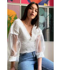 womens organza sleeve frilly smocked top - white