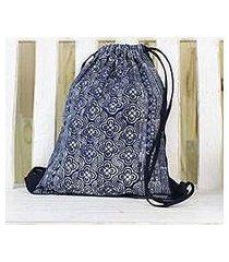 batik cotton drawstring backpack, 'garden paths' (thailand)