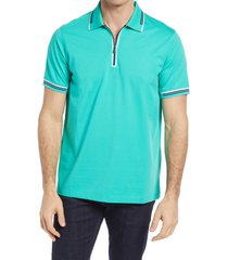 bugatchi solid stretch cotton blend polo shirt, size x-large in mint at nordstrom