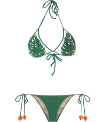 adriana degreas x cult gaia triangle bikini set - green