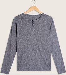 camiseta descanso manga larga con cuello henley-l