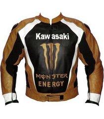 hot sale men kawasaki orange logo black leather jacket racing protetcion xs-6xl