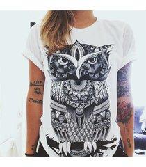 women fashion streetwear 3d print punk graffiti owl t-shirt 2017