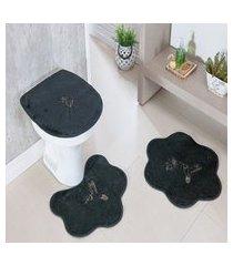 kit tapete banheiro formato 3 peças antiderrapante beija flor cinza