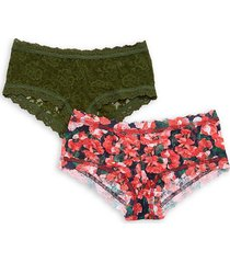hanky panky 2-pack lace-trimmed boyshorts - floral - size l