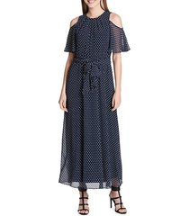 polka-dot ruffled cold-shoulder maxi dress