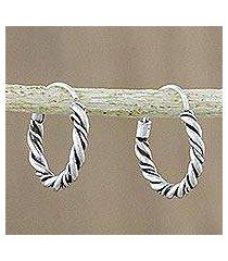 sterling silver hoop earrings, 'braided beauty' (thailand)