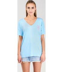 t-shirt lake girl błękit