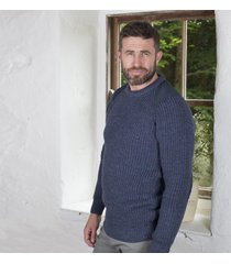 fishermans rib sweater with patches blue small