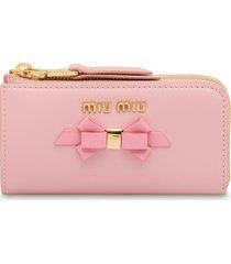 miu miu bow detail keychain case - pink