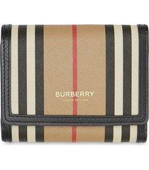burberry small icon stripe e-canvas folding wallet - neutrals