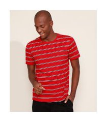 camiseta masculina básica listrada manga curta gola careca vermelha