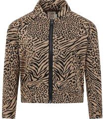 caffe dorzo beige leprina sweatshirt for girl with animalier print