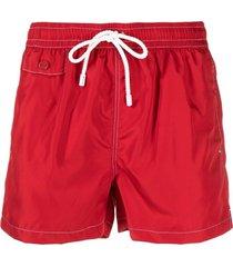 kiton stitched drawstring swim shorts - red