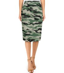 military camouflage midi pencil skirt