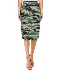 military camouflage midi pencil skirt