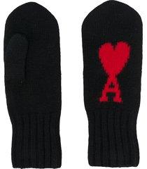 ami paris ami de coeur mittens - black