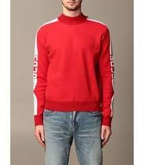 gcds sweatshirt gcds sweatshirt in stretch wool blend with logoed bands