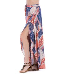 asymmetrical printed vacation lace up maxi skirt