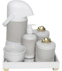 kit higiene espelho completo porcelanas, garrafa e capa nuvem dourado quarto beb㪠 - dourado - dafiti