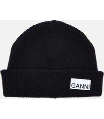 ganni women's recycled wool knit beanie - black