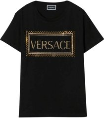 young versace black t-shirt with logo