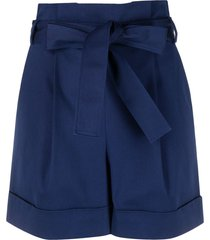 boutique moschino belted high waisted shorts - blue