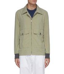 zip front patch pocket nylon aviator jacket