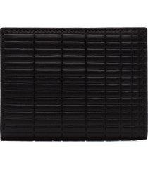 comme des garçons wallet brick-embossed patterned wallet - black