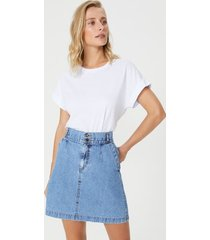 amaro feminino saia jeans curta bolso faca, azul medio