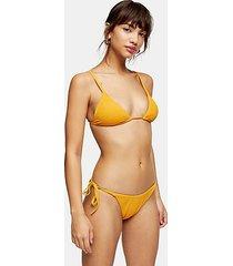 orange crinkle high tie bikini bottoms - orange