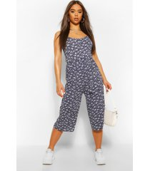 ditsy floral woven self belted culotte jumpsuit, navy