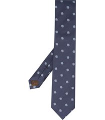 church's four-leaf clover embroidered tie - blue