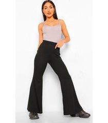 broek met wijd uitlopende pijpen en split, black