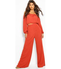 cheesecloth off shoulder top & trouser co-ord, rust
