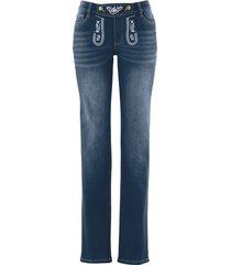 folkdräktsinspirerade jeans, med broderi, raka ben