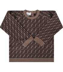 fendi brown sweater with double ff for babykid