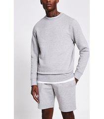 river island mens grey marl long sleeve sweatshirt