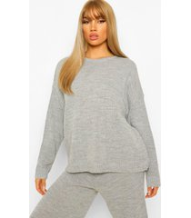 crew neck knitted top and culotte set, light grey