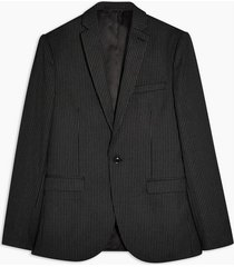 mens grey charcoal gray pinstripe skinny fit single breasted blazer with notch lapels