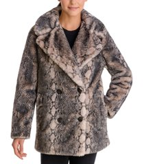 bcbgeneration snake-embossed faux-fur coat