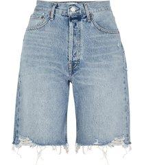 90's blue distressed longline denim shorts