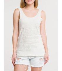 blusa feminina regata metalizada off white calvin klein jeans - pp